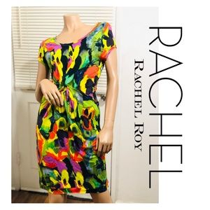 RACHEL RACHEL ROY Acid Rainbow Knot Waist Dress S